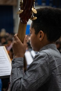 Student Playing a string instrument